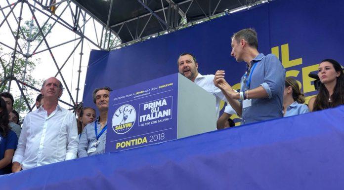 Matteo Salvini dal palco di Pontida