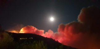 Incendio sul Monte Serra