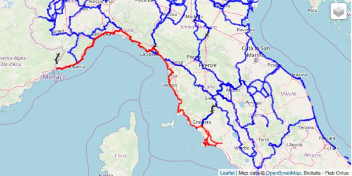 La Ciclovia Tirrenica evidenziata in rosso