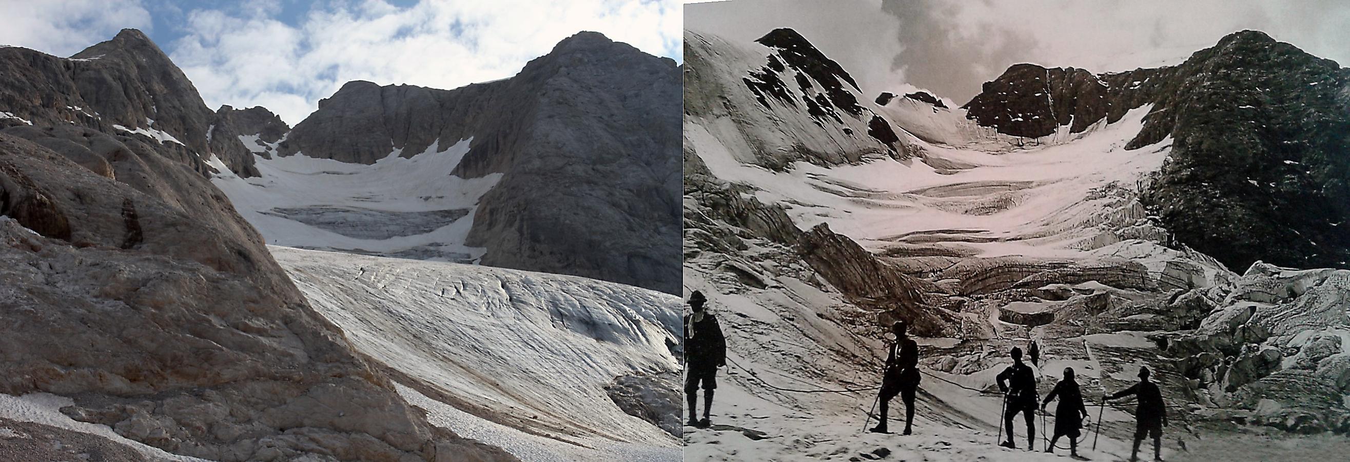 Il ghiacciaio della Marmolada nei primi decenni del '900 e oggi