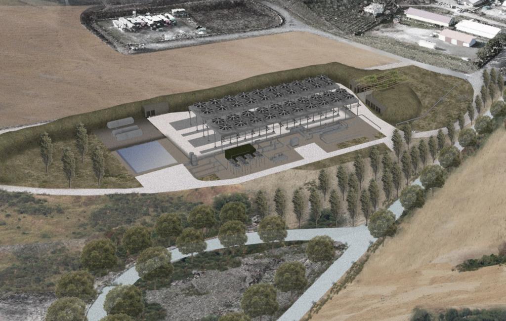 Rendering dell'impianto geotermico sul Monte Amiata